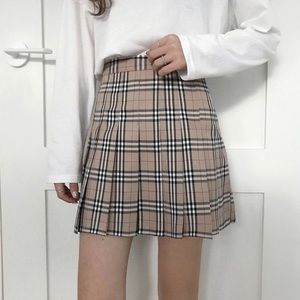 Plaid wool mini skirt